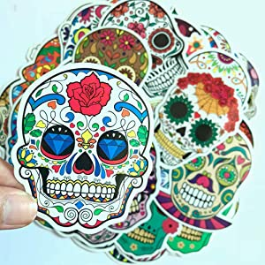 Liangfen Sugar Skull Stickers Laptop Dia de Los Muertos Mexican Day of The Dead Sticker Bomb Water Bottle Luggage Bike Computer Skateboard Vinyl Decals (50pcs)