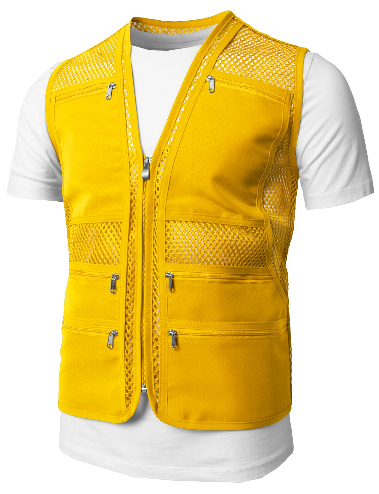 H2H Mens Casual Work Utility Hunting Travels Sports Mesh Vest With Pockets Yellow US M/Asia L (KMOV086)