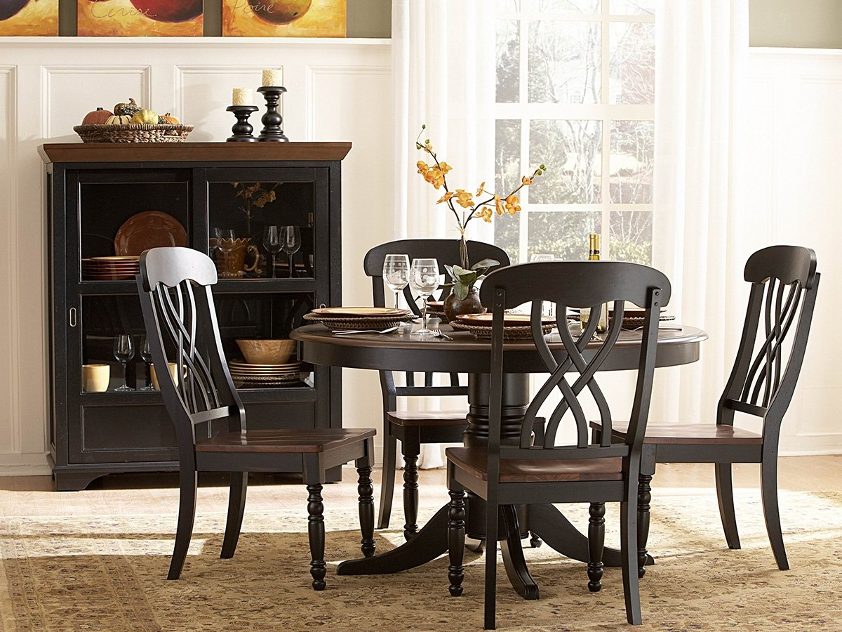 Amazon com homelegance ohana 5 piece round dining table set in black warm cherry table chair sets