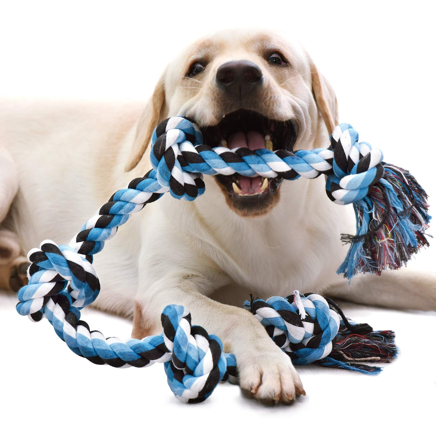 KILIKI Dog Rope Toys for Aggressive Chewers: 3 Feet 5 Knots Indestructible Dog Chew Toys Tough Nature Cotton for Medium and Large Breed by KILIKI