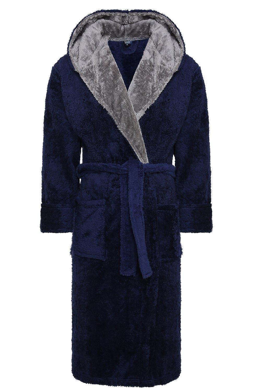 Harvey James Men's Hooded Fleece Dressing Gown – Navy