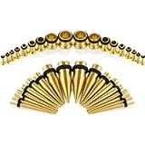 D.Bella 14G-00G 36 pcs Ear Gauges Stretching Kit Tapers Plugs Eyelets Implant Grade Steel