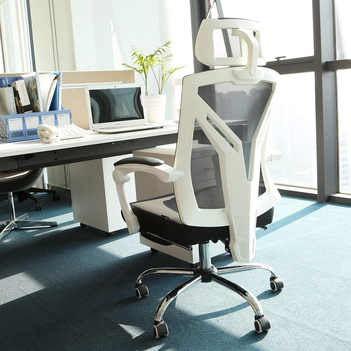 Hbada Ergonomic Office Chair - High-Back Desk Chair Racing Style with Lumbar Support - Height Adjustable Seat,Headrest- Breathable Mesh Back - Soft Foam Seat Cushion with Footrest, White by Hbada (Image #10)