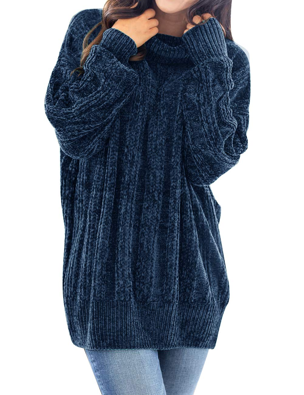 MEROKEETY Women's Long Sleeve Turtleneck Chunky Soft Chenille Velvet Tunic Sweater Pullover Navy by MEROKEETY
