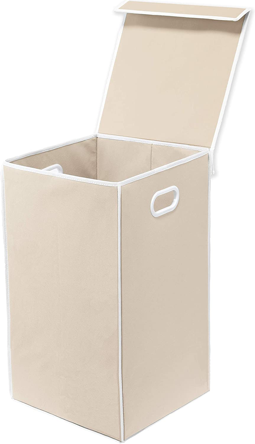 Simple Houseware Foldable Laundry Hamper Basket with Lid, Beige
