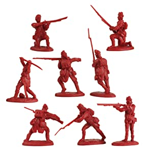 LOD Revolutionary War British Light Infantry - 16 Red Soldier Figures 1:32 Scale (Color: Crimson Red)