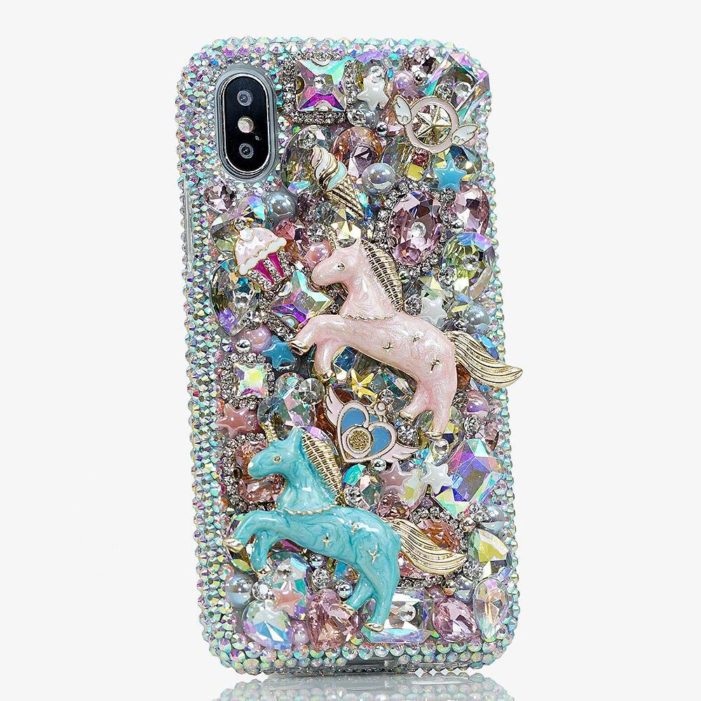 iPhone Xs Max Case, Bling Genuine AB Crystals with Pink Blue Unicorns Cupcakes Sparkle Glitter Easy Grip Protective Case Cover [by Luxaddiction] by Luxaddiction