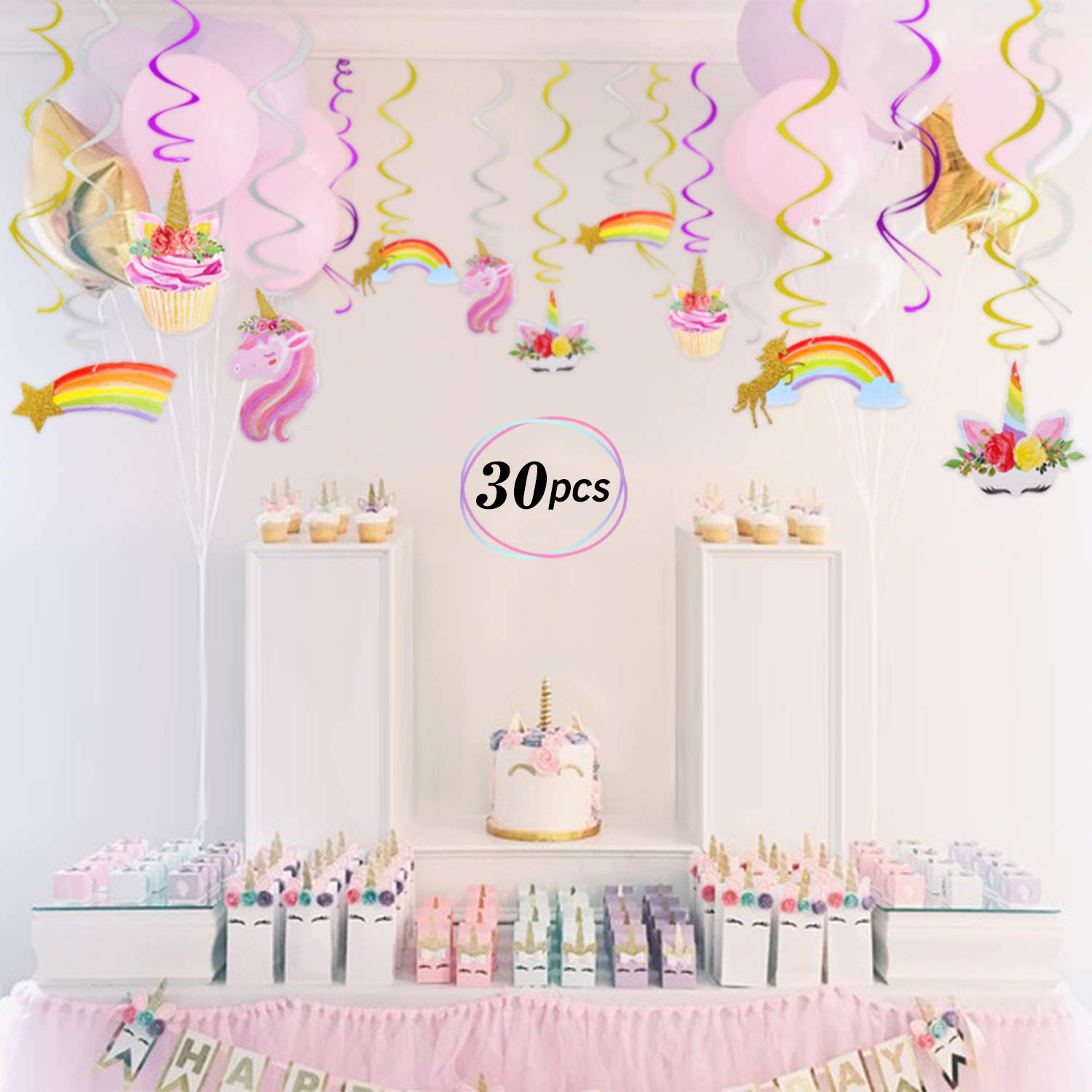 Unicorn Hanging Swirl Decorations, Unicorn Themed Party Supplies, 30pcs,  Birthday Baby Shower Party Decorations