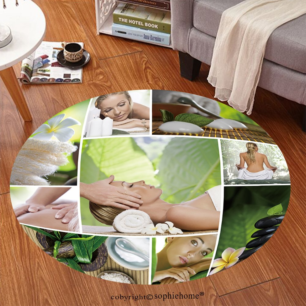 Sophiehome Soft Carpet 78170689 Spa theme photo collage composed of different images Anti-skid Carpet Round 34 inches