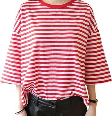 Zantec Camisa estampado de rayas rojas para mujeres, Tipo de ...