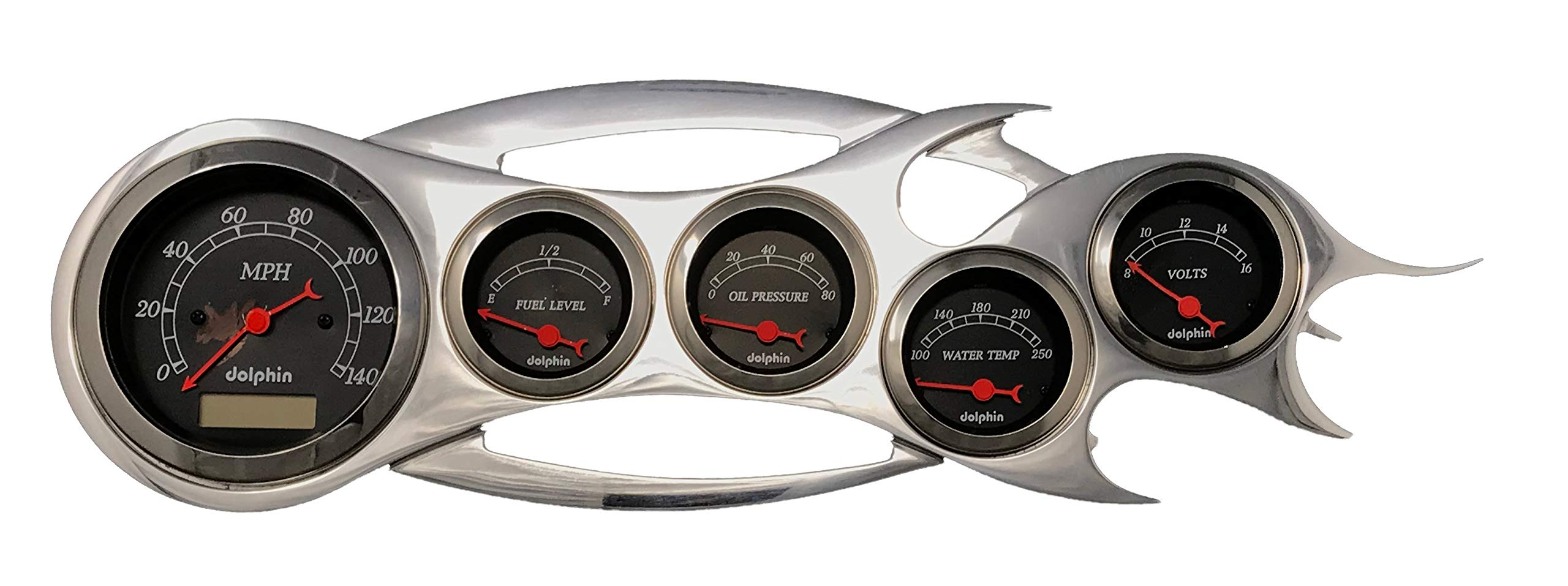 Universal Flame - 5 Gauge Dash Cluster Panel - Programmable - Black by Dolphin Gauges