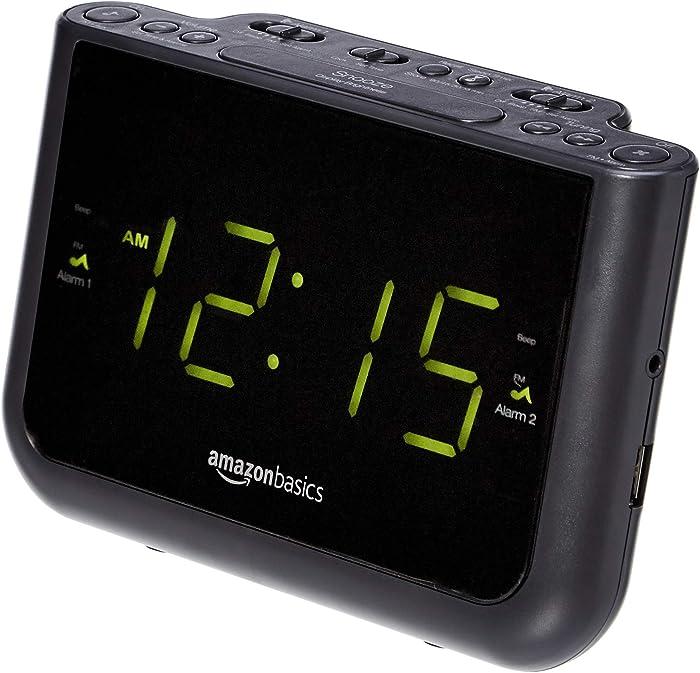 AmazonBasics FM Dual Alarm Digital Clock Radio with USB Charging Port, LED Display