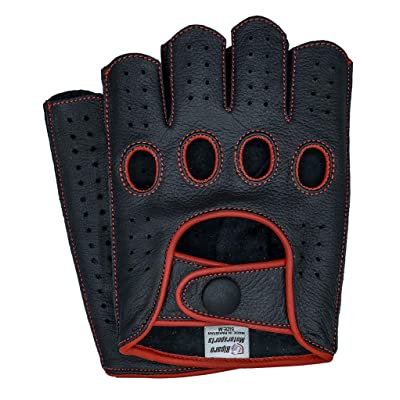 Riparo Mens Leather Reverse Stitched Fingerless Half-Finger Driving Motorcycle Gloves: Clothing