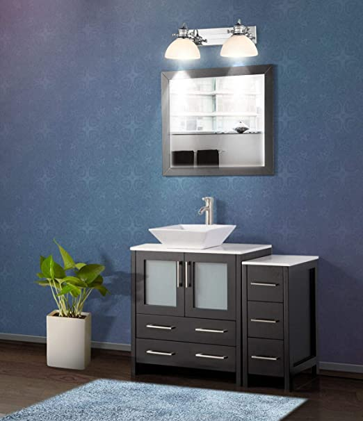 Amazon Com Vanity Art 42 Inch Single Sink Bathroom Vanity Set 1 Shelf 5 Drawers Quartz Top And Ceramic Vessel Sink Bathroom Cabinet With Free Mirror Va3130 42 E Kitchen Dining