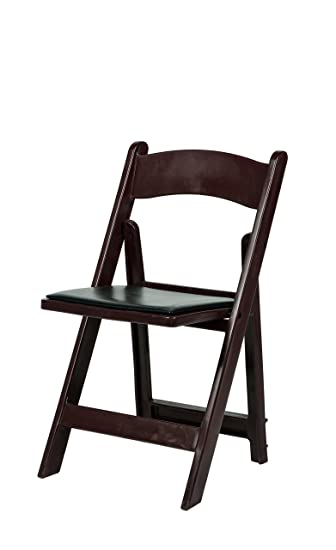 4 Commercial Resin Folding Chairs Stackable Chair Mahogany Color w//Padded Seat