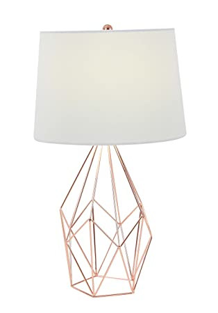 Deco 79 58661 asymmetrical metal wire table lamp copper white