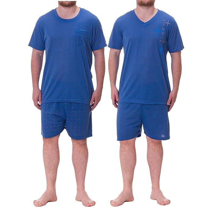 Henry Terre Hombre Pijama Shorty doble unidades en Set azul Medium