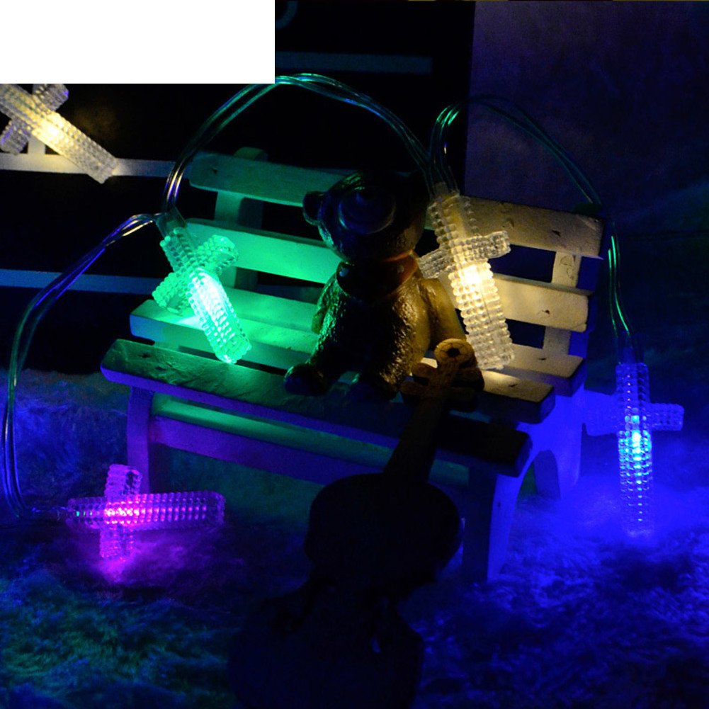 LED colored lights flashing light battery light chain Christmas lights Cross wind chime out the lights-B