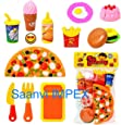 HMC Plastic Kitchen/Restaurant Role Pretend Pizza Cutting Play Fast Food Set (Multicolour)
