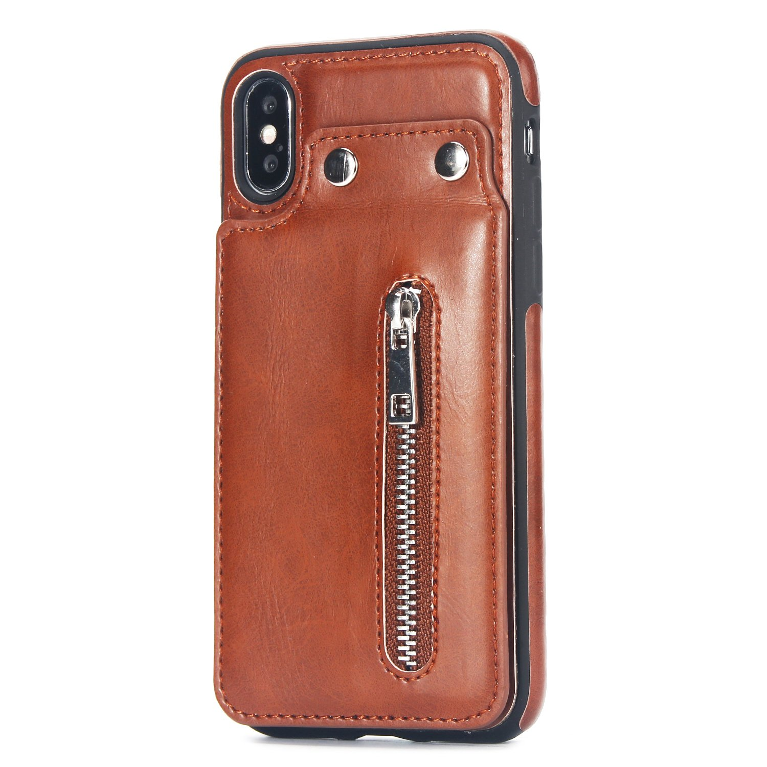 Case for iPhone X/iPhone XS Flip Case Premium PU Leather Wallet Cover with Card Holder Money Pocket Durable Shockproof Protective Cover for iPhone X/XS,Brown by ikasus
