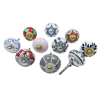 Lot Of 10 Pcs Hand Painted Ceramic Knobs Indian Decorative Knob Cabinet  Hardware