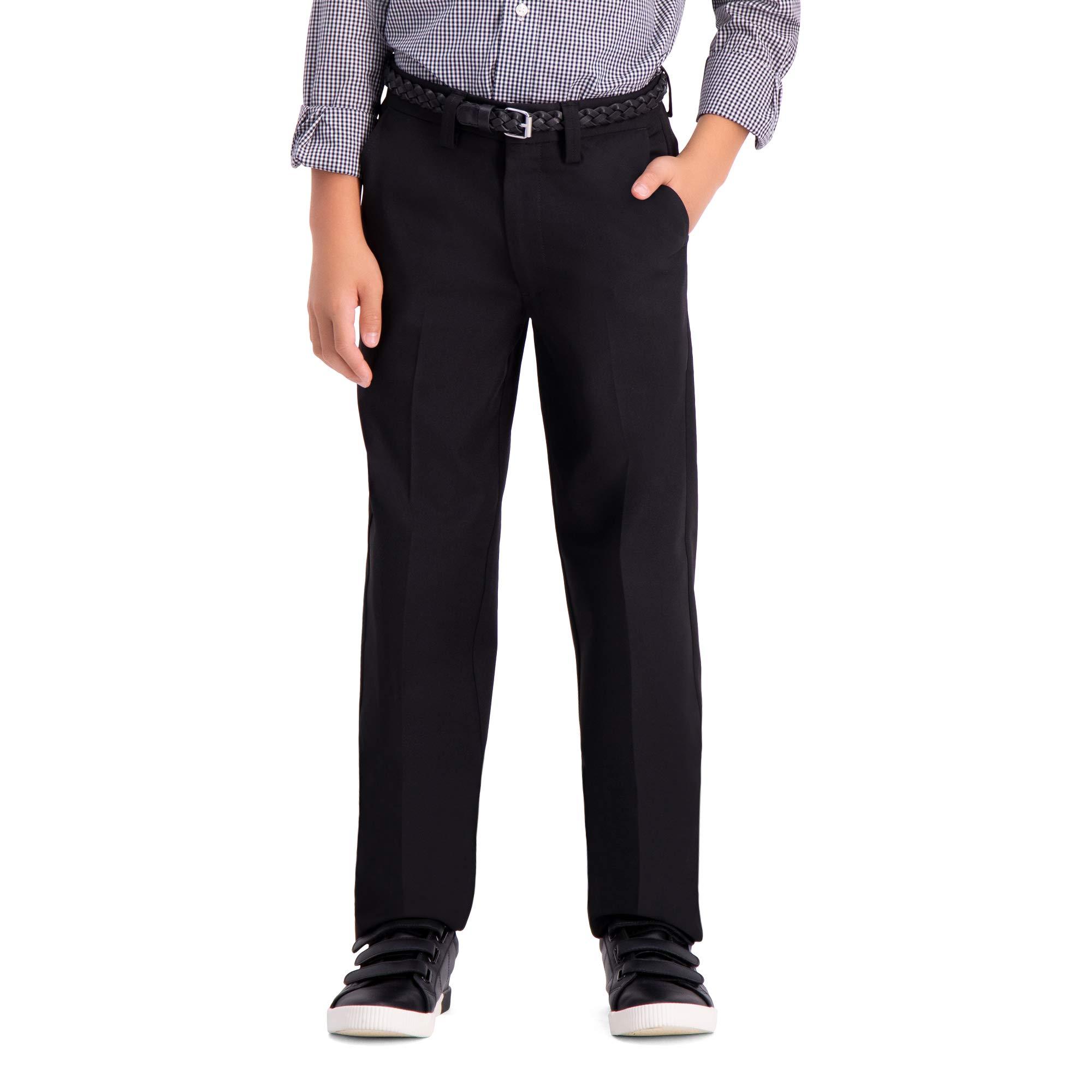 Haggar Big Boy's Youth Slim 8-20 Cool 18 PRO Pant, Black, 20 SLIM