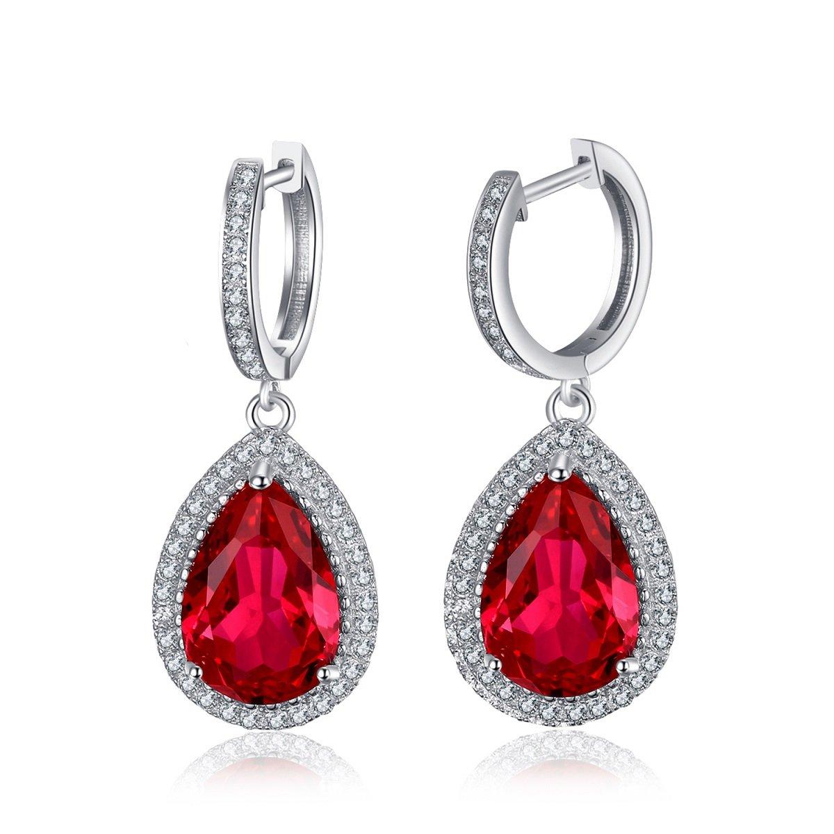 454de2b6cc6367 Amazon.com: Jewelrypalace Women's 9.34ct Synthetic Ruby 925 Sterling Silver  Drop Dangle Earrings: Jewelry