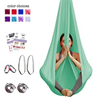 Aerial Yoga Hammock - Premium Aerial Silk Yoga Swing for Antigravity Yoga, Inversion Exercises, Improved Flexibility & Core Strength - Extension Straps, Carabiners and Pose Guide Included