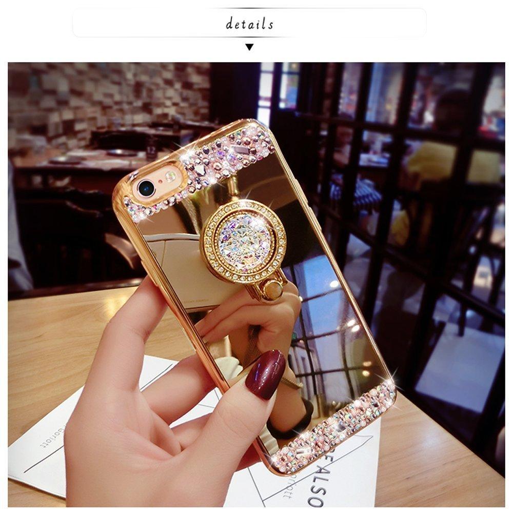 Bling Diamond Crystal Ring Holder Kickstand Mirror Case