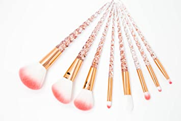 78b3b15aa12 Amazon.com: New Rose Gold Sparkle Unicorn Horn Make Up Brush Set Foundation  Highlighter Eye-shadow Eye Brow Contour Cosmetic Concealer Brush Kit Tool  ...