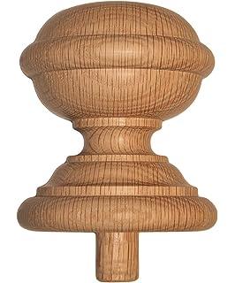 Staircase Finial Newel Post Cap FN 0109, Red Oak Wood (3 3/
