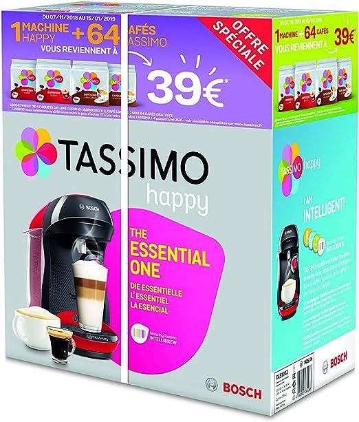 Bosch Tassimo Happy tas1003 C cafetera bebidas calientes, Rojo ...