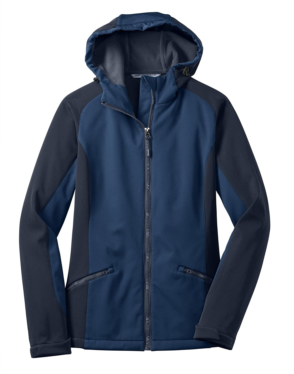Port Authority Ladies Hooded Soft Shell Jacket> Insignia Blue/Navy Eclipse