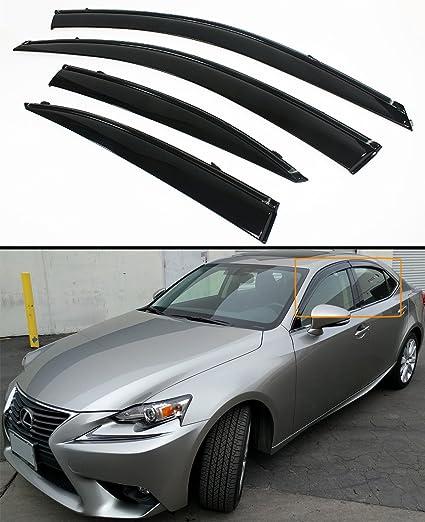 Cuztom Tuning Fits for 2014-2018 Lexus IS250/350/200T VIP Clip-on JDM  Window Visor Rain Guard Deflector W/Black Trim