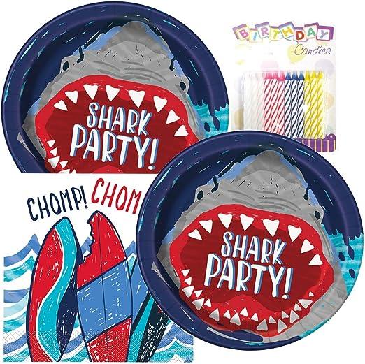 Amazon.com: SHARK fiesta de cumpleaños platos y servilletas ...
