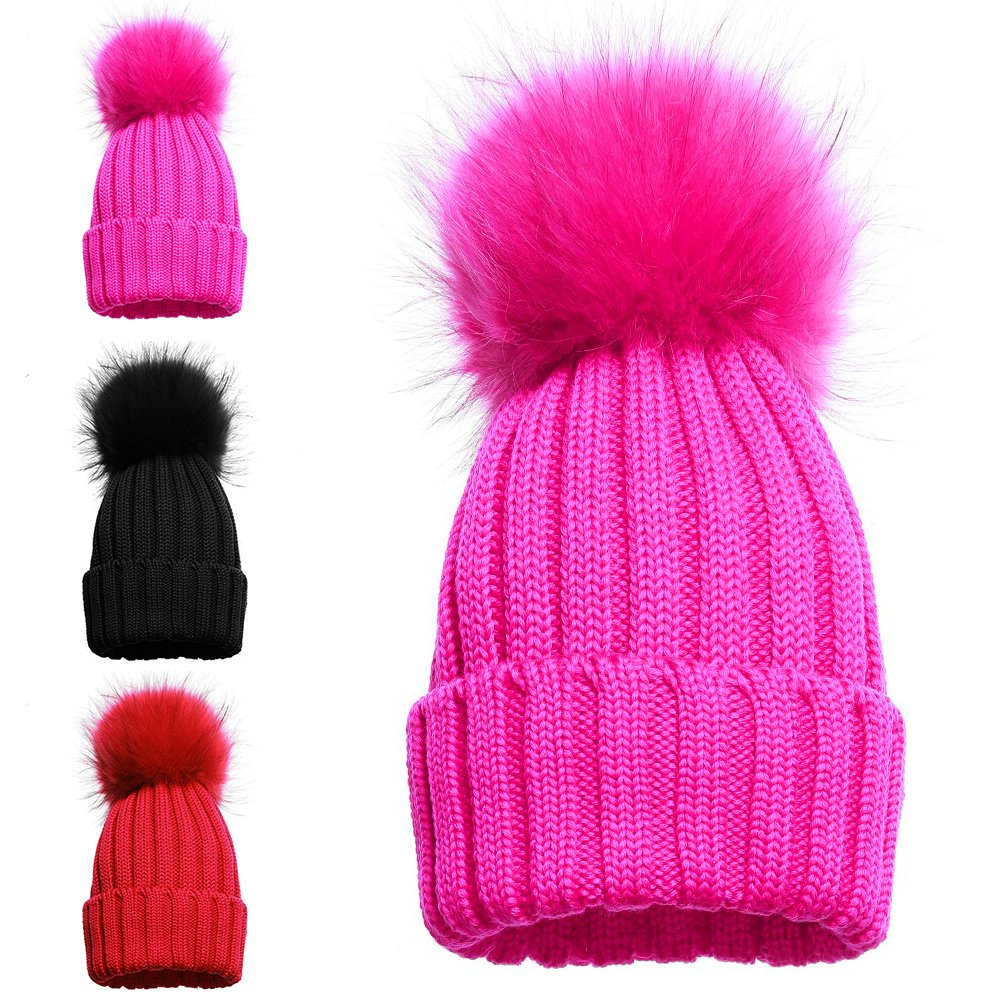 Girls Single and Double Pom Pom Winter Hats Caps Kids Beanies Single Pom  Double Pom Cosy Knitted Beanies (1 POM POM HAT PINK)  Amazon.co.uk  Kitchen    Home 4a0f610cad7