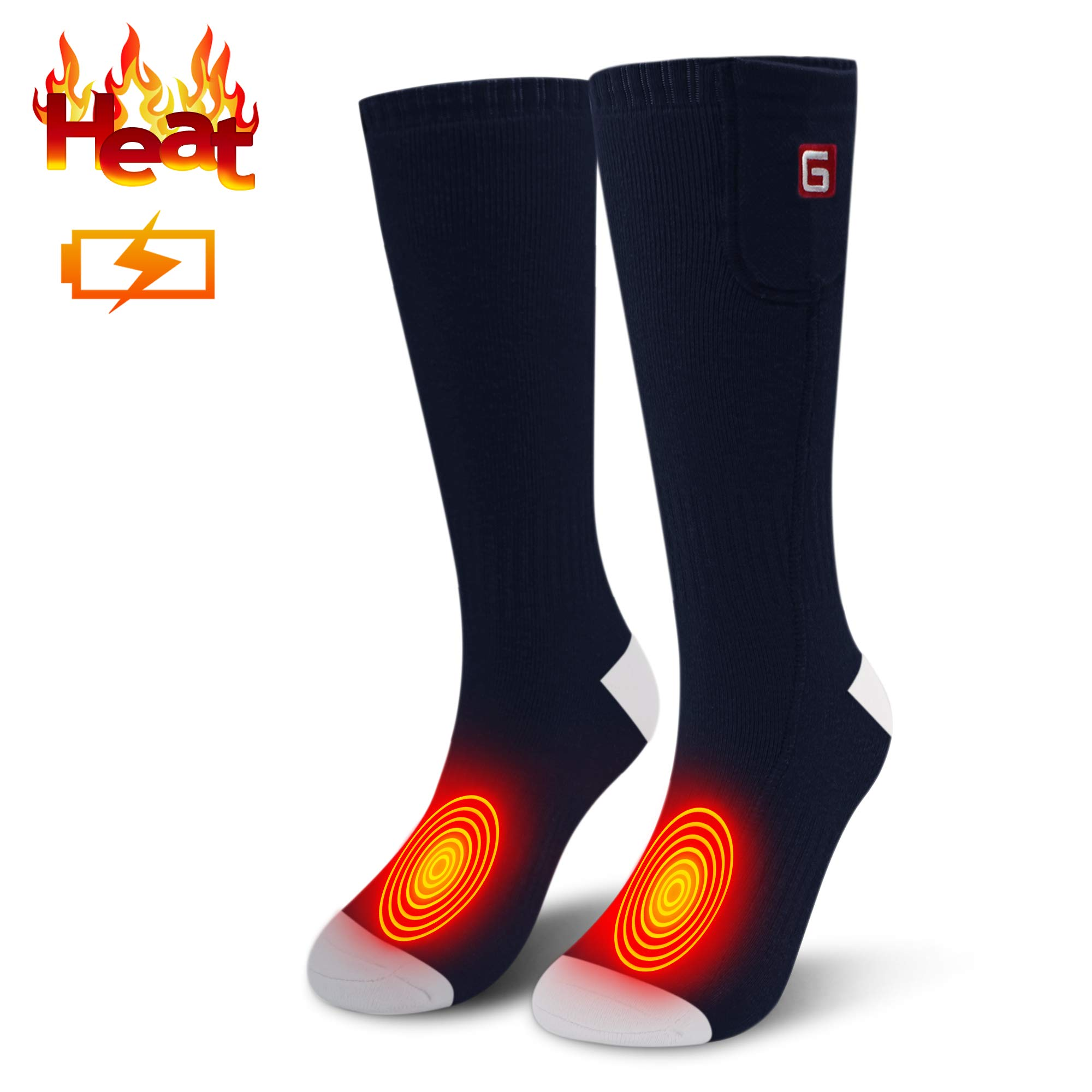 Men Woman Heated Socks Rechargeable Batteries Socks Heat Insulated Sock,Camping Foot Warmers for Chronically Cold Feet, Electric Batteries Socks Perfect for Skiing, Shredding, Fishing, Riding Socks by MMlove