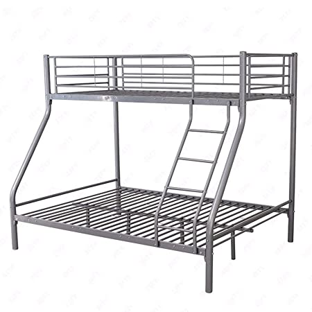 Xerck Silver 3FT Single 4FT6 Double Metal Bunk Bed Frame for 3 Sleepers  Adult Kids  Amazon.co.uk  Kitchen   Home 6752d3383
