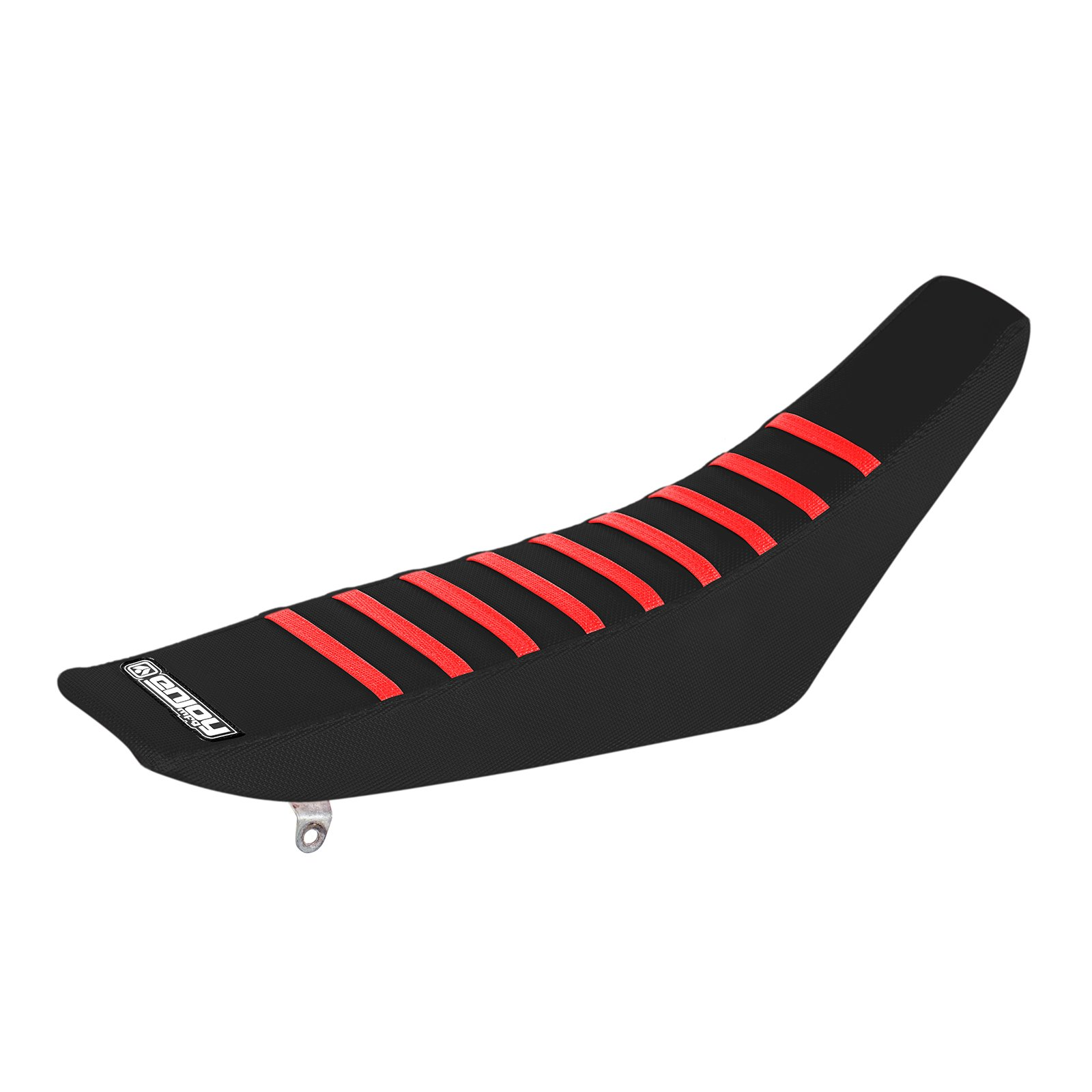 Enjoy MFG Ribbed Seat Cover for Honda CRF 150 R - All Black / Red Ribs