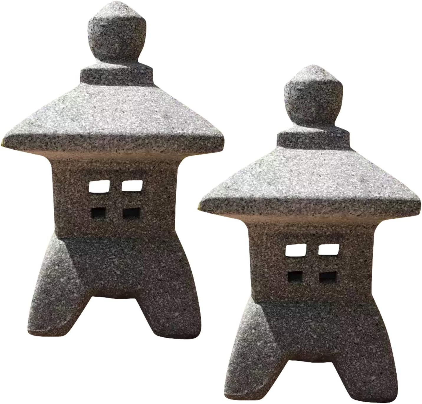 "Zen Garden Decor - Japanese Lantern - 4.53"" x 4.13"" x 7.48"" Pagoda Stone Decor w/ Fixed Roof - Japanese Garden Sculptures & Statues - Fairy Garden Outdoor Light - Candle Holder Patio Decor - 2 Pack"