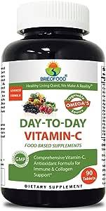 Brieofood Food Based Vitamin C 1000mg 90 Tablets - Premium Formula With Fruit & Vegetable Blends, Digestive Blend, Vegetable Omega Blend