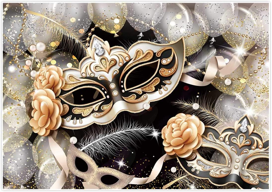 Mardi Gras Mask Backdrop Halloween Masks Dress Up Dance Party Photography Backgrounds Masquerade Golden Black Color Backdrops for Newborn Graduation Birthday Party Wedding Backdrop 10x7ft E00T10318