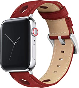 42mm/44mm Crimson Red - Barton Rally Horween Leather Watch Bands with Integrated Quick Release Spring Bars- 316L Stainless Steel- Compatible with All Apple Watch Models - Black PVD Hardware