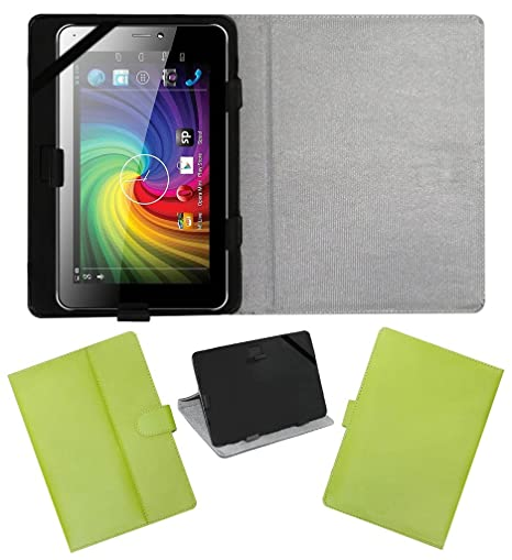 ACM Leather FLIP Flap Tablet Holder Carry CASE Stand Cover Compatible with MICROMAX FUNBOOK P365 Green Bags,Cases   Sleeves