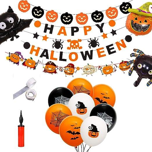 Shuibian Halloween Deko Kinder Ballons Halloween Deko Girlande Halloween Grusel Dekoration Set Zur Dekoration Von Haus Tisch Garten Amazon De Kuche Haushalt