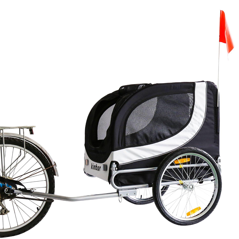 Amazon.com : Kinbor New Basic Pet Bicycle Trailer Dog Carrier (White ...