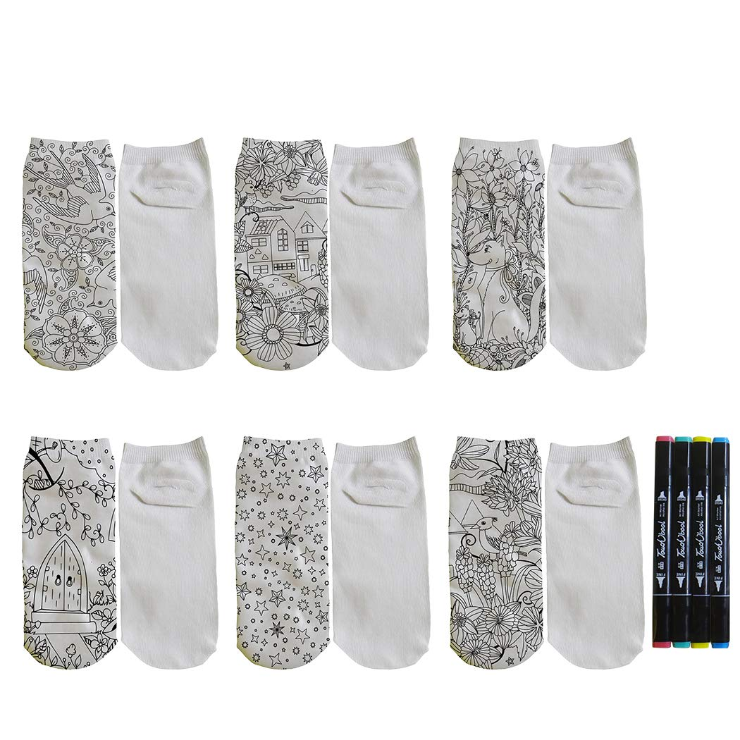 Kapmore DIY Coloring Socks Creative Cartoon Painting Casual Socks for Kids by Kapmore