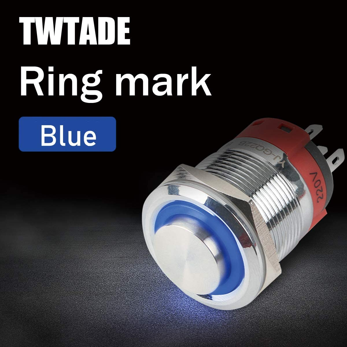 5 Year Warranty White TWTADE 22mm IP65 Waterproof Latching High Head Metal Push Button Switch 7//8 10A DC12V Stainless Steel Shell LED Ring Switch 1NO 1NC with Wire Socket Plug YJ-GQ22AH-L-W