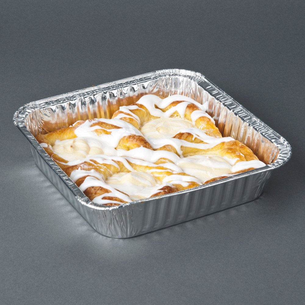Durable Packaging Disposable Aluminum Square Cake Pan, 8'' x 8'' x  1-5/16'' (Pack of 500)