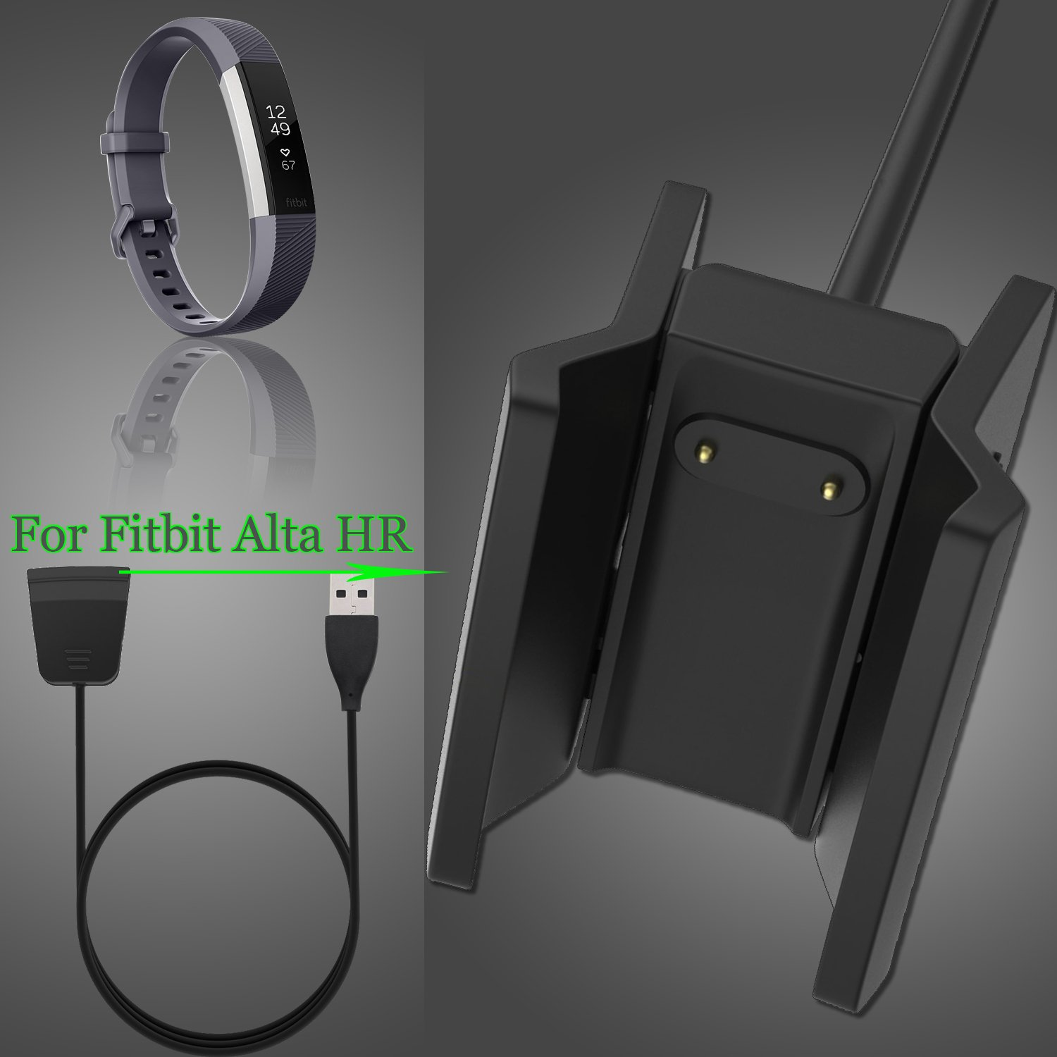 Fitbit Alta HR Charger, KingAcc Replacement USB Charging Cable Cord Dock Charger for Fitbit Alta HR, Fitness Tracker Wristband Smart Watch ...